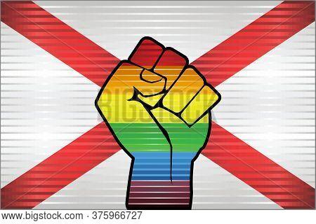 Shiny Lgbt Protest Fist On A Alabama Flag - Illustration, Abstract Grunge Alabama Flag And Lgbt Flag