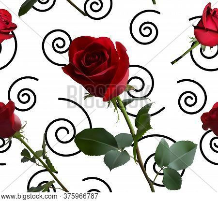 A Pattern With Red Roses With Green Leaves And A Long Stem On The Background