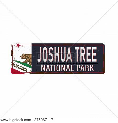Road Sign Rusted Joshua Tree National Park Vector Illustration