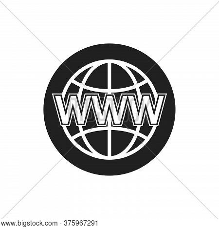 Globe Search Web Icon. Www Sign. Search Www Vector Icon. Web Hosting Technology.