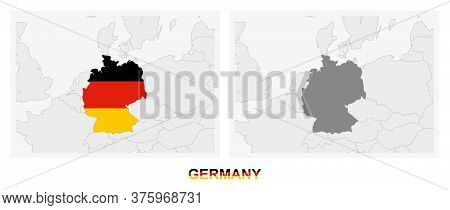 Two Versions Of The Map Of Germany, With The Flag Of Germany And Highlighted In Dark Grey. Vector Ma