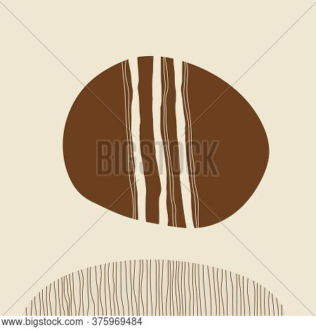 Minimalist Wall Art With Simple Shapes. Aesthetic Vector Illustration Of Warm Brown Tones.