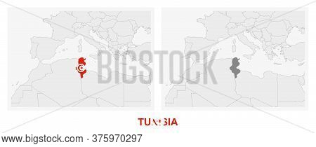 Two Versions Of The Map Of Tunisia, With The Flag Of Tunisia And Highlighted In Dark Grey. Vector Ma