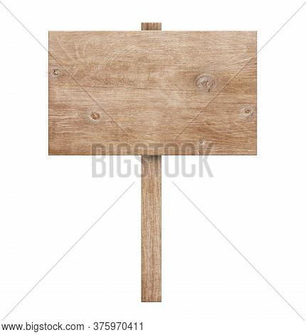 Wooden Sign Isolated On White Background With Clipping Path.old Wood Planks. 3d Illustration