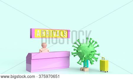 A Coronavirus And Suite Case  Checkin Arrival Counter For Travel Content 3d Rendering