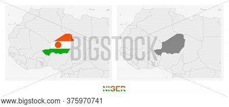 Two Versions Of The Map Of Niger, With The Flag Of Niger And Highlighted In Dark Grey. Vector Map.