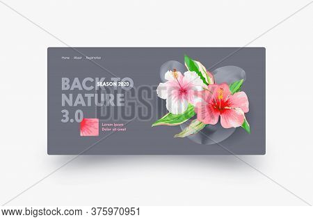 Back To Nature Landing Page Design With Hibiscus Exotic Flowers, Website Template For Florist Shop,