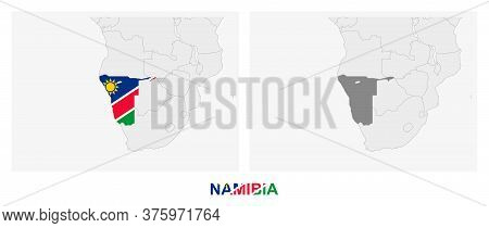 Two Versions Of The Map Of Namibia, With The Flag Of Namibia And Highlighted In Dark Grey. Vector Ma