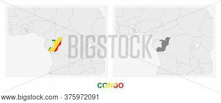 Two Versions Of The Map Of Congo, With The Flag Of Congo And Highlighted In Dark Grey. Vector Map.