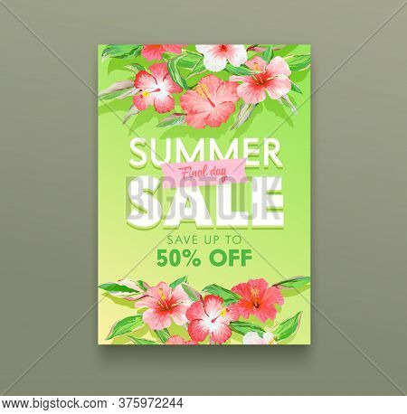Summer Sale Concept. Tropical Ad Poster With Exotic Hibiscus Flowers And Green Leaves. Off Day Promo