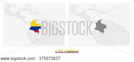 Two Versions Of The Map Of Colombia, With The Flag Of Colombia And Highlighted In Dark Grey. Vector