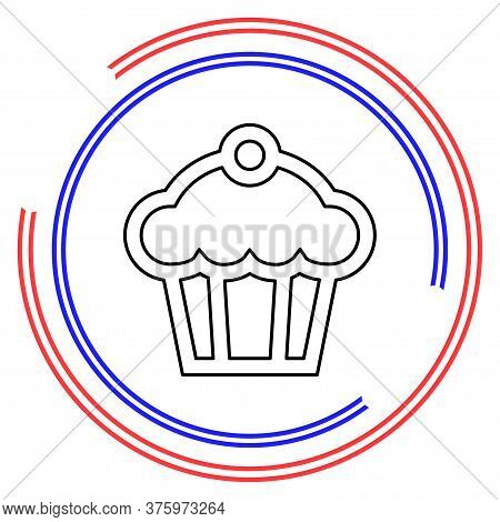 Muffin - Cupcake Illustration, Vector Dessert - Delicious Sweet, Bakery Symbol. Thin Line Pictogram
