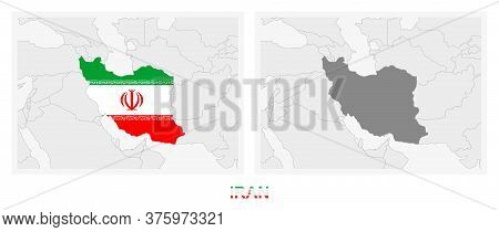 Two Versions Of The Map Of Iran, With The Flag Of Iran And Highlighted In Dark Grey. Vector Map.