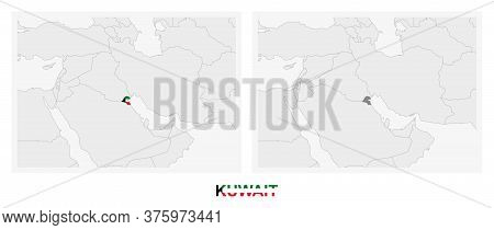 Two Versions Of The Map Of Kuwait, With The Flag Of Kuwait And Highlighted In Dark Grey. Vector Map.