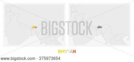 Two Versions Of The Map Of Bhutan, With The Flag Of Bhutan And Highlighted In Dark Grey. Vector Map.