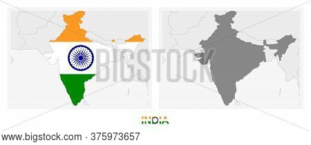 Two Versions Of The Map Of India, With The Flag Of India And Highlighted In Dark Grey. Vector Map.