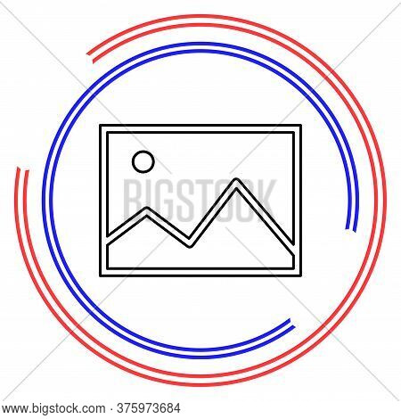 Vector Photo Gallery Illustration - Camera Picture Sign - Photography Album Symbol. Thin Line Pictog
