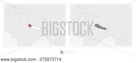 Two Versions Of The Map Of Nepal, With The Flag Of Nepal And Highlighted In Dark Grey. Vector Map.