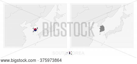 Two Versions Of The Map Of South Korea, With The Flag Of South Korea And Highlighted In Dark Grey. V