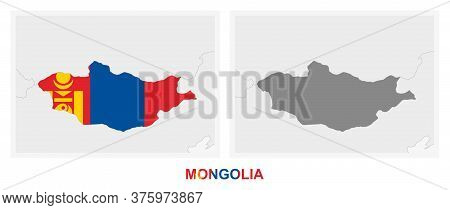 Two Versions Of The Map Of Mongolia, With The Flag Of Mongolia And Highlighted In Dark Grey. Vector