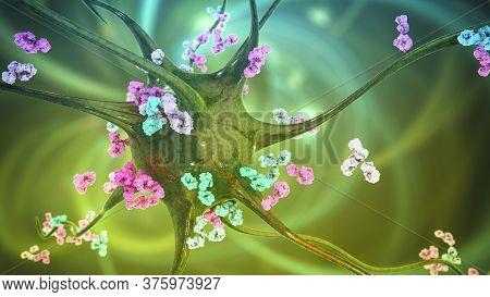 Antibodies Attacking Neuron, 3d Illustration. Concept Of Autoimmune Neurologic Diseases