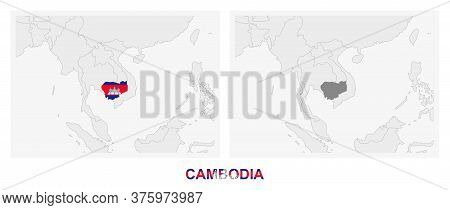 Two Versions Of The Map Of Cambodia, With The Flag Of Cambodia And Highlighted In Dark Grey. Vector