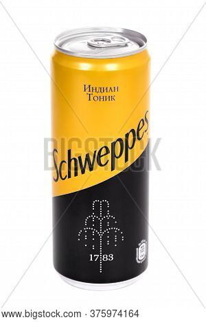 Novyy Urengoy, Russia - July 8, 2020: Aluminium Can Of The Schweppes Indian Tonic Isolated Over Whit