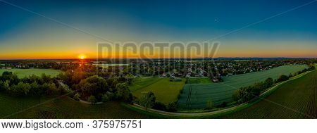 Aerial View Of A Residential Area In A Rural Town In Germany. Buildings And Countryside Hills Landsc
