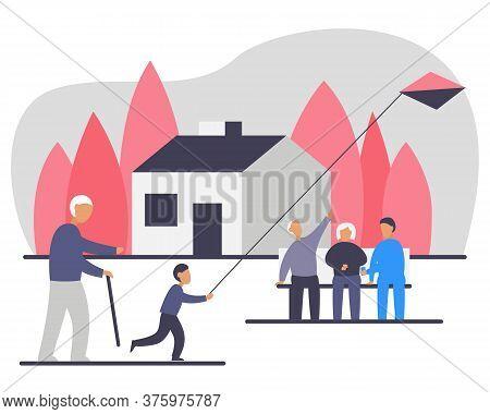 Nursing Home Outdoor Activity Vector Illustration. Group Of Elderly People Walking Around And Sittin