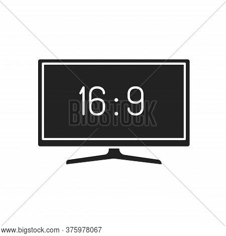 Tv Display Black Glyph Icon. Display Aspect Ratio. Electronic Device. Pictogram For Web Page, Mobile