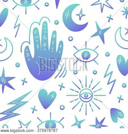 Illustration On The Theme Of Magic, Voodoo, Palmistry. A Set Of Magic Symbols. The Hand With The Sig