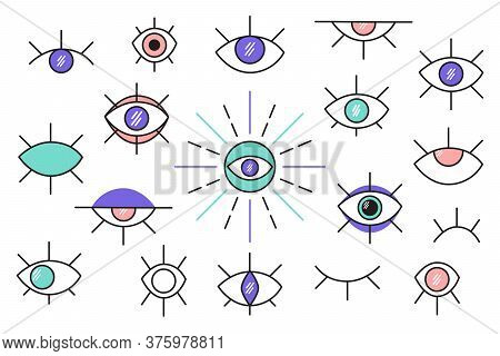 Evil Eyes. A Set Of Different Talismans. Different Eyes. Modern Fashion Vector Illustration. All Ele