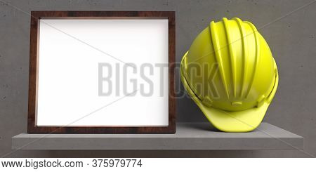 Hard Hat And Blank White Photo Frame On Concrete Shelf, Concrete Wall Background. 3D Illustration