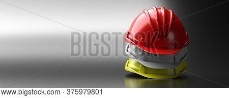 Safety Hard Hats Stack On Grey Background, Copy Space. 3D Illustration