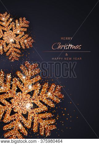 Merry christmas and happy new year gold snowflakes. Christmas. Christmas Vector. Christmas Background. Merry Christmas Vector. Merry Christmas banner. Christmas illustrations. Merry Christmas Holidays. Merry Christmas and Happy New Year Vector Background.