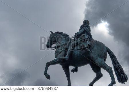 Madrid, Spain; April 2010: Bronze Statue Of A Charles Iii On Horseback. Puerta Del Sol, Madrid, Spai