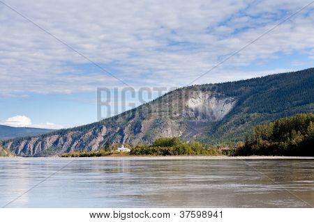 Goldrush town Dawson City from Yukon River Canada