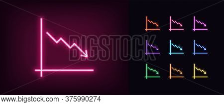 Neon Downfall Chart Icon. Glowing Neon Drop Chart Sign, Down Arrow In Vivid Colors. Financial Foreca