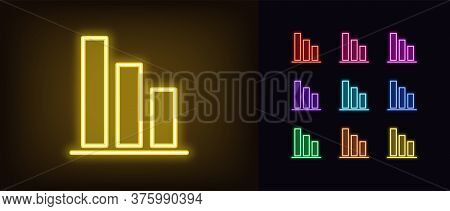 Neon Downfall Graph Icon. Glowing Neon Drop Diagram Sign, Down Bar Chart In Vivid Colors. Financial