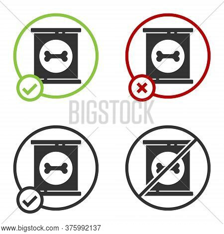 Black Canned Food Icon Isolated On White Background. Food For Animals. Pet Food Can. Dog Bone Sign.