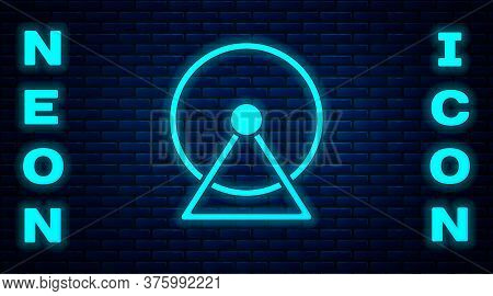 Glowing Neon Hamster Wheel Icon Isolated On Brick Wall Background. Wheel For Rodents. Pet Shop. Vect