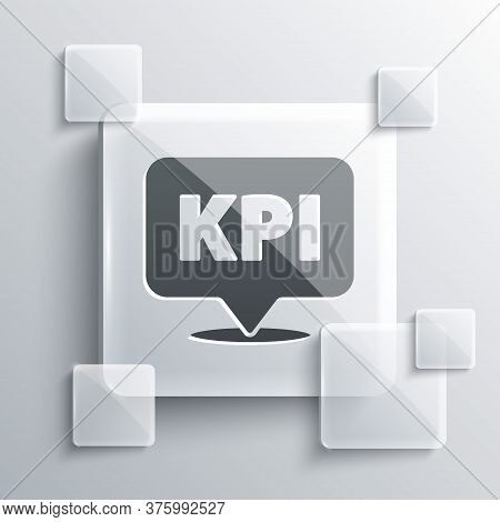 Grey Kpi - Key Performance Indicator Icon Isolated On Grey Background. Square Glass Panels. Vector