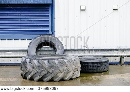Car Tyres Stacked Recycling Compound Environment Old Used Rubber Black