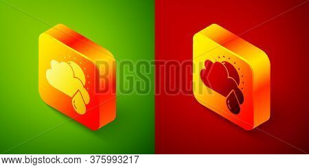 Isometric Cloud With Rain And Sun Icon Isolated On Green And Red Background. Rain Cloud Precipitatio