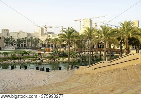 Dubai / Uae - July 3, 2020: Beautiful View Of Souk Madinat Jumeirah During Sunset. Old And New Style
