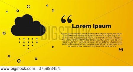 Black Cloud With Rain Icon Isolated On Yellow Background. Rain Cloud Precipitation With Rain Drops.