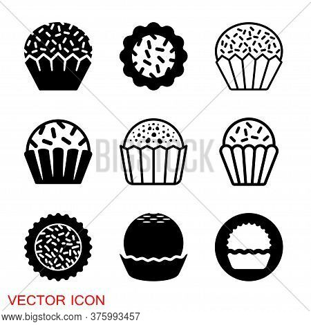Brigadeiro Icon Vector. Brazilian Sweet Brigadier Design Illustration.