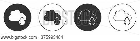 Black Cloud With Rain Icon Isolated On White Background. Rain Cloud Precipitation With Rain Drops. C