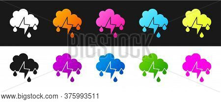 Set Cloud With Rain And Lightning Icon Isolated On Black And White Background. Rain Cloud Precipitat