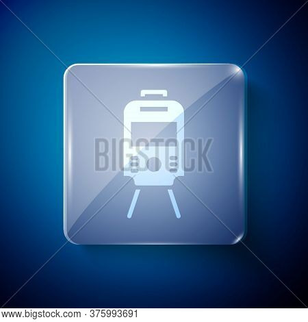 White Tram And Railway Icon Isolated On Blue Background. Public Transportation Symbol. Square Glass